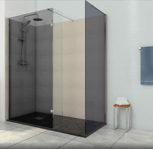 1200mm with 300mm Return Screen Smoked Black 8mm Glass Wet Room Shower Screen Walk-In Panel