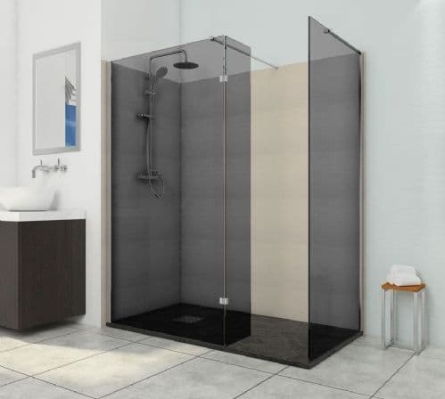 900mm Smoked with 300mm Return Black 8mm Glass Wet Room Shower Screen Walk-In Panel