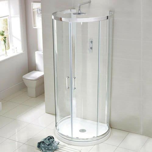 900mm x 770mm Compact D Shape Shower Enclosure One Wall Quadrant Glass Shower Cubicle Doors