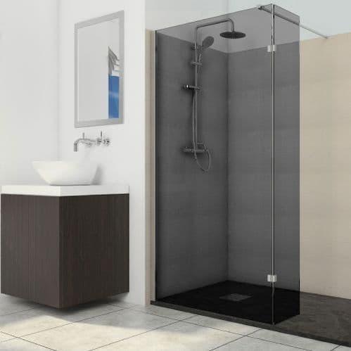 Deluxe8 1100mm Smoked Black 8mm Glass Wet Room Shower Screen Walk-In Panel
