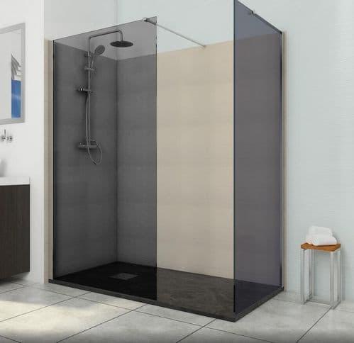 Deluxe8 500mm Designer Smoked Black 8mm Glass Wet Room Shower Screen Walk-In Panel