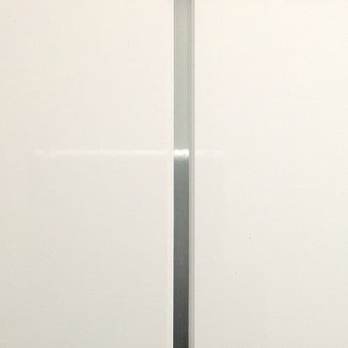 Gloss White Embedded Silver V Groove Shower Wall Panels - W250mm x H2600mm 4 Pack 8mm Thick