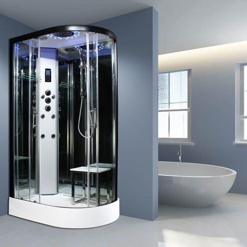 Insignia Platinum LEFT 1100mm x 700mm Non Steam Quadrant Hydro Shower Cabin Customise Frame / Glass