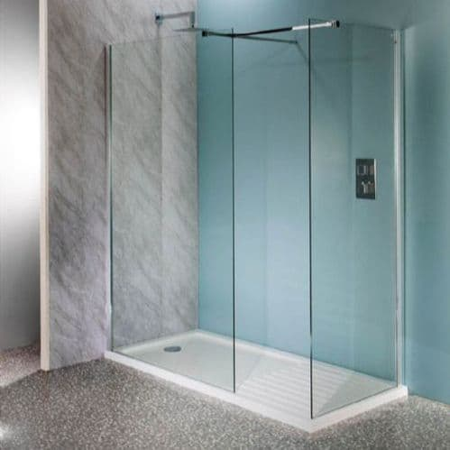 Jupiter Mercury 1400 x 900mm Walk-in Shower Enclosure Wet Room Pack & Tray- 10mm Glass Panels