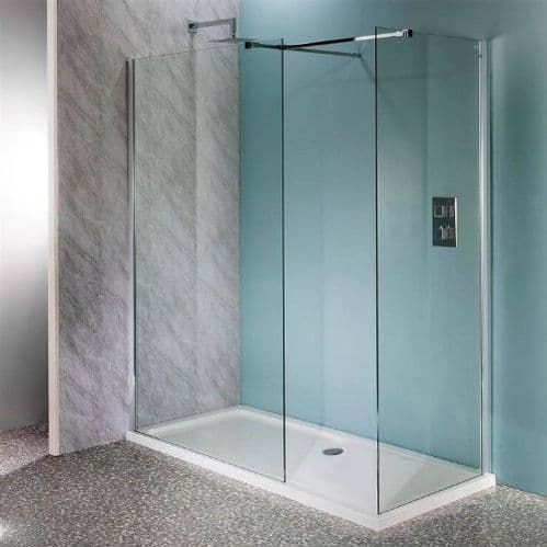 Jupiter Mercury 1700 x 900mm Walk-in Shower Wet Room Pack & Tray- 10mm Glass Panels Opt2