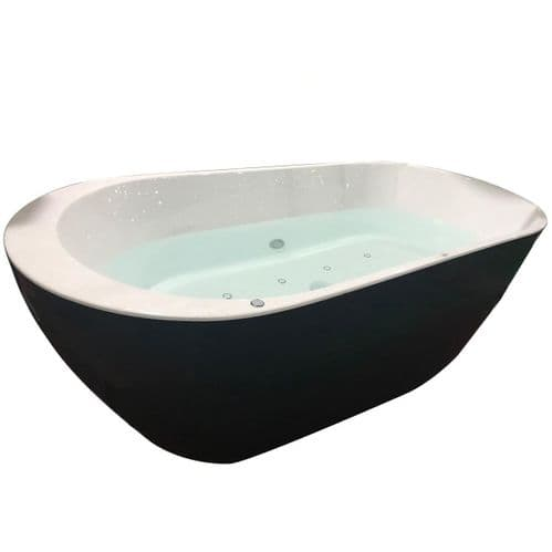 Jupiter Roman 1700mm x 800mm 20 Spa Jets Double Ended Black Freestanding Baths Whirlpool Bath
