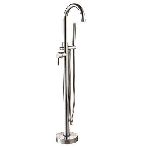 Jupiter Shaz Round Freestanding Bath Tap With Handheld Shower Swivel Neck