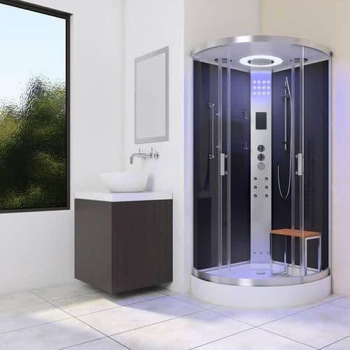 Lisna Waters LW10 900mm x 900mm Black Quadrant Steam Shower