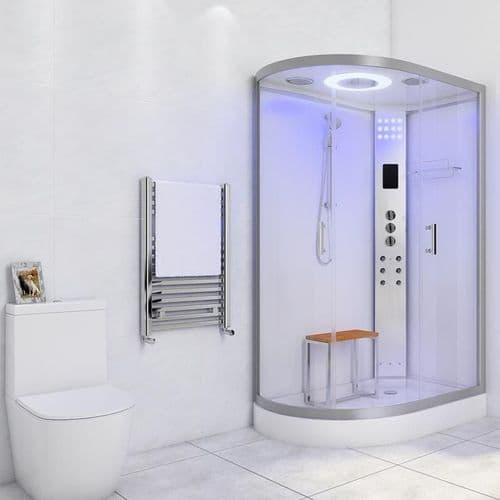Lisna Waters LW18 1200 x 800 Steam Shower Cabin Right Handed White Offset Quadrant Enclosure