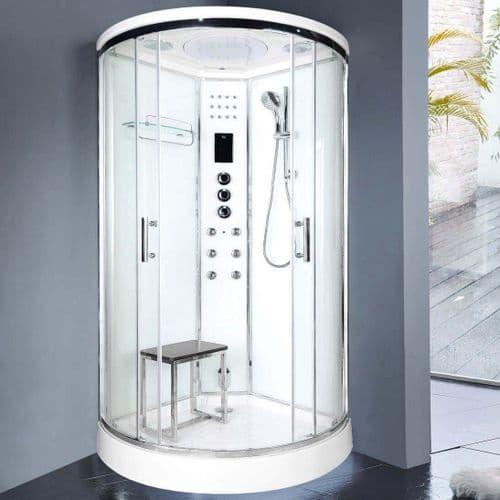 Lisna Waters LWSL04 900mm x 900mm Quadrant Steam Shower Cabin EasyFit Fast Build Enclosure - White