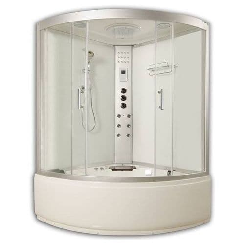 Lisna Waters LWST White Corner Steam Shower Whirlpool and Airspa Bath 1350mm x 1350mm