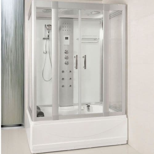 Lisna Waters LWW1 White 1350 x 800mm Steam ShowerWhirlpool and Airspa Bath
