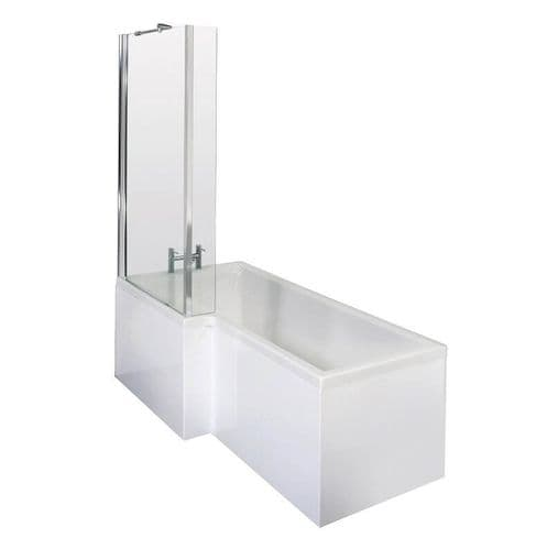 NUIE 1700mm L Shaped Bath with Front Panel and Glass Bath Screen - Left Hand Bath