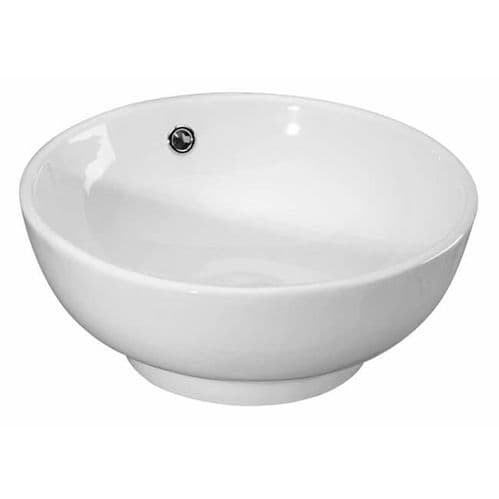 NUIE 420mm White Round Surface Mounted Ceramic Vessel Basin 175 x 420 x 420mm