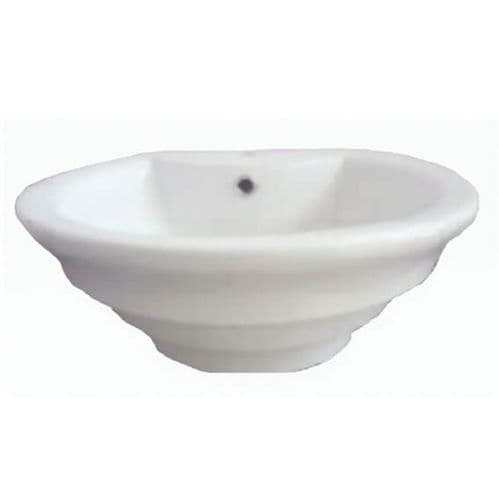 NUIE 460mm White Round Surface Mounted Ceramic Basin 195 x 460mm