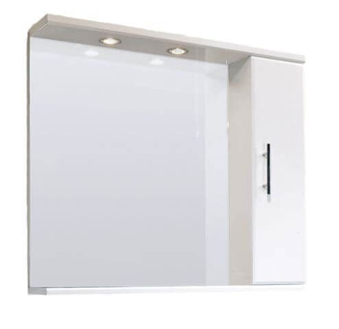 NUIE 850mm Classic Gloss White Mirror Cabinet & Lights VTY027