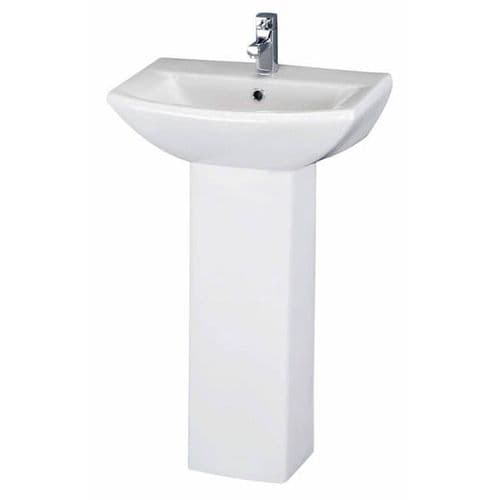 NUIE Asselby 1 Tap Hole Cloakroom Basin and Pedestal 830 x 600 x 430mm