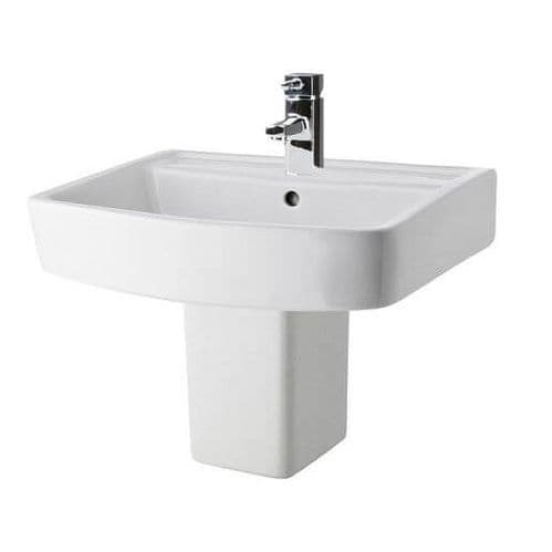 NUIE Bliss 1 Tap Hole 520mm Basin and Semi Pedestal 520  x 420mm