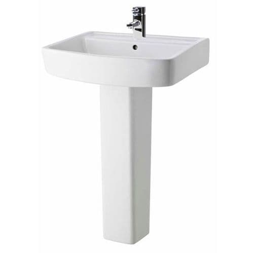 NUIE Bliss 1 Tap Hole 600mm Basin and Full Pedestal 820 x 600 x 450mm