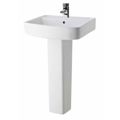 NUIE Bliss 1 Tap Hole Basin and Full Pedestal 820 x 520 x 420mm