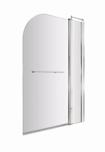 NUIE Chrome Straight Bath Screen With Fixed Panel & Rail 1435 x 985mm