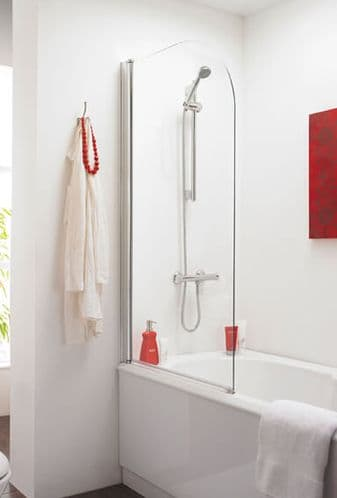 NUIE Chrome Straight Bath Shower Screen 1435 x 770mm