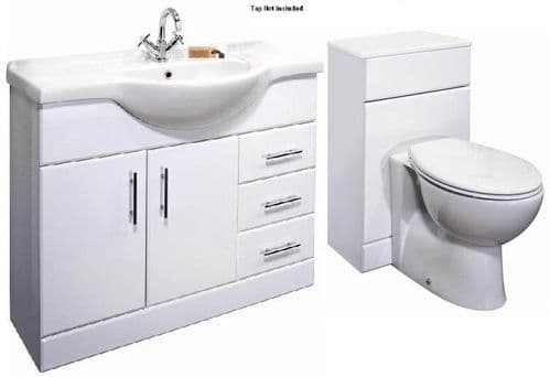 NUIE Classic 1050mm Bathroom Vanity Unit & WC UNIT BTW Toilet 1550mm Combination Set