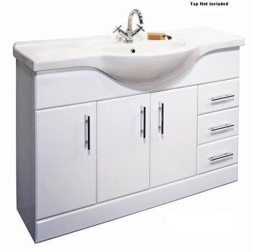 NUIE Classic 1200mm Basin Vanity Unit Gloss White Bathroom Furniture
