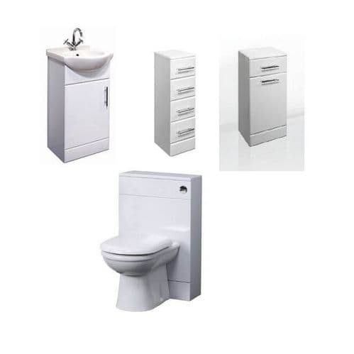 NUIE Classic 450mm Bathroom Vanity Unit, Laundry Basket, 4 Drawer Unit, BTW Toilet Furniture Pack