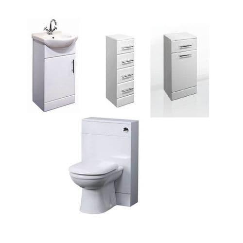 NUIE Classic 450mm Bathroom Vanity Unit, Laundry Basket, 4 Drawer Unit, BTW Toilet Furniture Pack