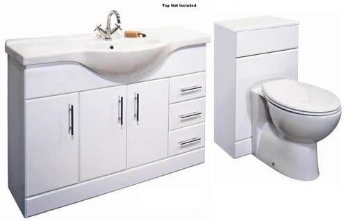 NUIE Delaware Classic 1200mm Bathroom Vanity Unit & BTW Toilet 1700mm Combination Set
