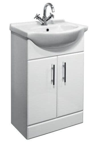NUIE Delaware White Vanity Unit with Basin W550 x D300mm - VTY550