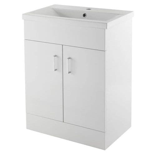 NUIE Eden Minimalist Gloss White Vanity Unit W600 x D400mm - VTNB600