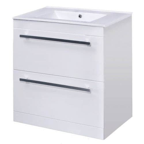 1000mm Vanity Units:  High Gloss White Floor Standing Basin Vanity Unit 1000mm  from Premier Bathrooms