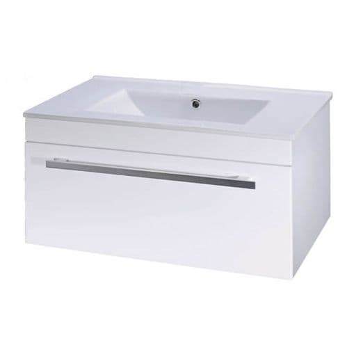 NUIE High Gloss White Wall Mounted Basin Unit 1000mm