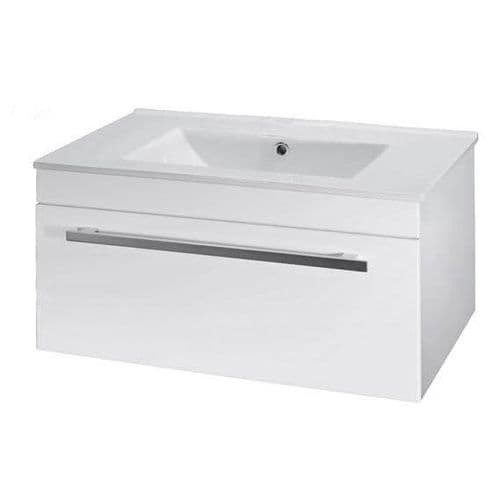 NUIE High Gloss White Wall Mounted Basin Vanity Unit 1000mm