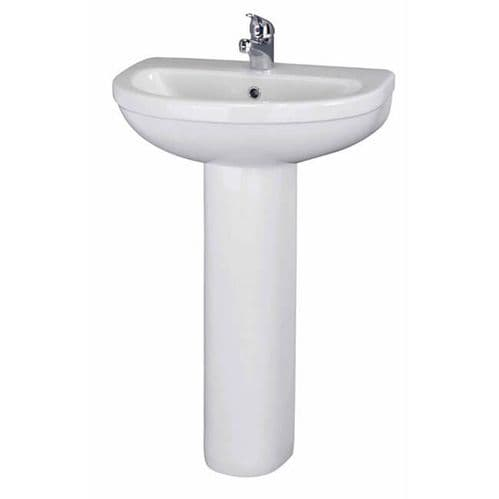 NUIE Ivo 1 Tap Hole 550mm Basin and Full Pedestal 885 x 555 x 443mm