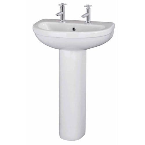 NUIE Ivo 2 Tap Hole Basin and Full Pedestal 865 x 555 x 443mm