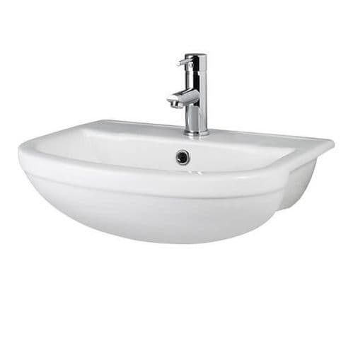 NUIE Ivo 500mm Semi Recessed 1 Tap Hole Basin 500 x 435 x 170mm