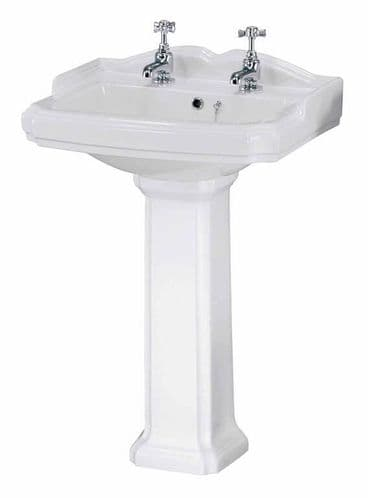 NUIE Legend 2 Tap Hole 580mm Basin and Pedestal 835 x 580 x 470mm