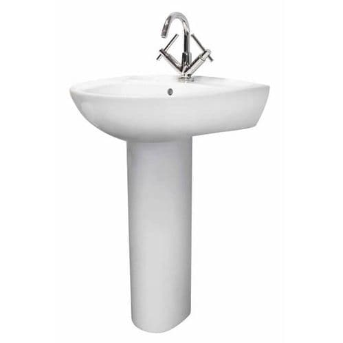 NUIE Melbourne 1 Tap Hole Basin and Pedestal 900 x 550 x 475mm