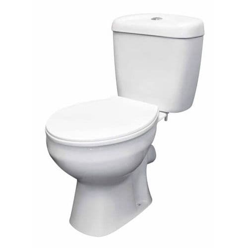 NUIE Melbourne Close Coupled Toilet, Cistern and Seat 748 x 382 x 630mm