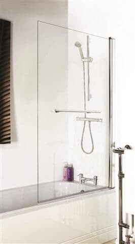 NUIE Toughened Glass Chrome Square Bath Screen With Towel Rail 1400 x 770mm