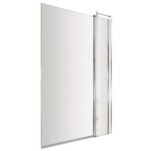 NUIE Toughened Glass Chrome Square Bath Screen with Fixed Panel 1400 x 985mm