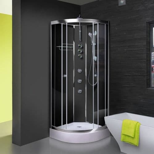 Opus iLock 1000 Hydro Shower Cabin 1000mm x 1000mm Carbon Black Glass Cabinet - 20 Minute Build