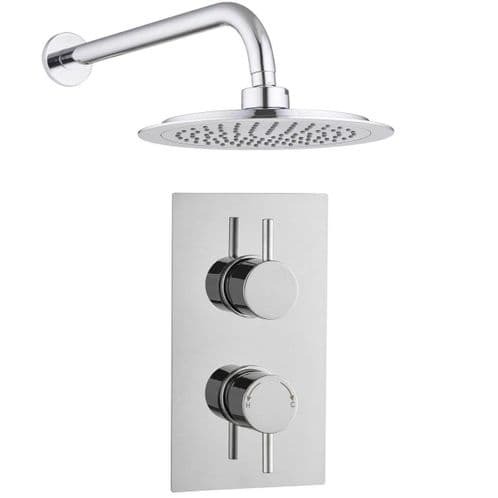 Barcelona Modern Round Twin Concealed Thermostatic Shower Mixer Valve and Shower Head Kit