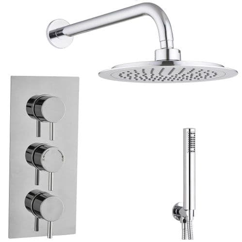 Barcelona Round Triple TMV2 Concealed Thermostatic Shower Mixer Valve Shower Head Handset Kit