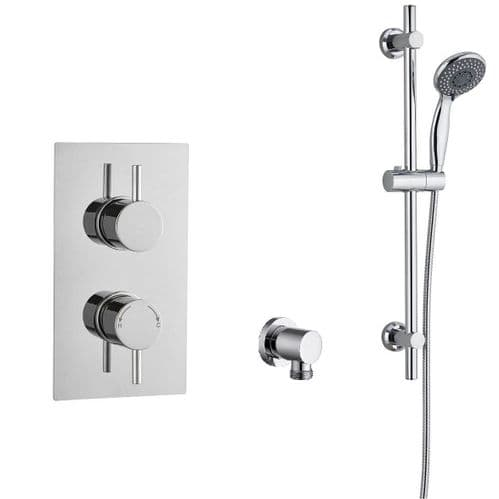 Barcelona Round Twin TMV2 Concealed Thermostatic Shower Valve - Slide Rail Kit Elbow & Handset Pack