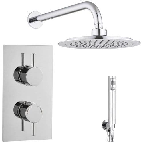 Barcelona Round Twin with Diverter TMV2 Concealed Thermostatic Shower Valve Shower Head  & Handset