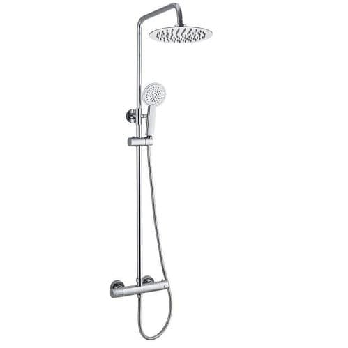 Bliss Chrome Round TMV2 Thermostatic Fixed Head Shower with Riser Rail and Detachable Head